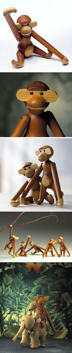 Kay Bojesen: Wooden Monkey with moveable head and limbs  Rosendahl, Denmark.   Special: $189.99 instead of $220.00   Kay Bojesen's wooden figure monkey.  box.     Believe it or not but the world famous Bojesen Monkey was designed in 1951. That's half a century ago for all you fellow monkey lovers!  http://www.nova68.com/Merchant2/merchant.mvc?Screen=PROD_Code=39250