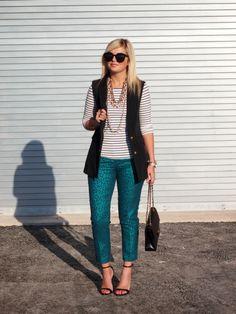 8.13 sleeveless vest (M for Mendocino vest + F21 striped shirt + H&M pants + Zara heels + Chanel bag + Karen Walker sunnies + Michael Kors watch)