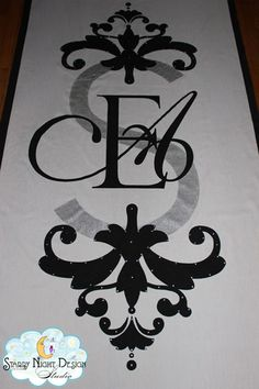 The perfect monogram and regal design details make this aisle runner rich with sophistication #monogramaislerunners, #weddingaislerunners