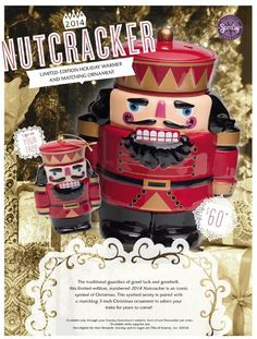 #Scentsy #Nutcracker #Holiday #Warmer & matching #Ornament! The traditional guardian of good luck and goodwill, this #limited-edition, numbered 2014 Nutcracker is an iconic symbol of #Christmas. This spirited sentry is paired with a matching 3-inch Christmas ornament to adorn your trees for years to come! #celebrate #decorate #festive #cheer #joy