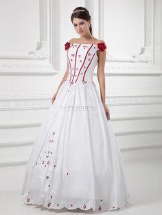 Aubree - Robe de mariée de bal épaules dégagées en satin avec broderies et fleurs 3D