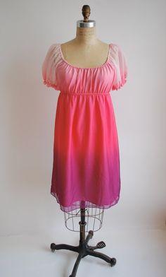 Vintage 1980's Baby Doll Silk Dress