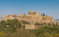 View from Philopappos - Acropolis Hill - Parthenon - The Parthenon's position on the Acropolis dominates the city skyline of Athens.