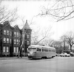 DC Transit PCC on Route 30 (destination Friendship Heights) on Pennsylvania Avenue NW west of Washington Circle.