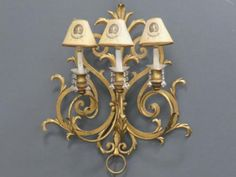 FRENCH-STYLE-GILT-WROUGHT-IRON-3-ARM-SCONCE-HEIGHT-26-WIDTH-24-Lot-57