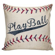 Pillow Antique Baseball Cushion Burlap Cotton Throw Pillow Cover BB-12 by ElliottHeathDesigns on Etsy