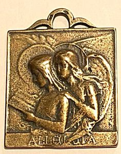 Large Antique Bronze Angel Medal Virgin Mary Archangel (Image1)Rare Art Nouveau antique bronze holy medal pendant featuring the Blessed Mother Virgin Mary and Archangel Saint Gabriel. Larger size perfect for a man or woman. 1.25 inch long and 1 inch wide.