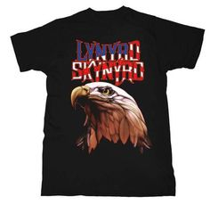Lynyrd Skynyrd T-shirt - Lynyrd Skynyrd Logo with American Bald Eagle. Men's Black Shirt