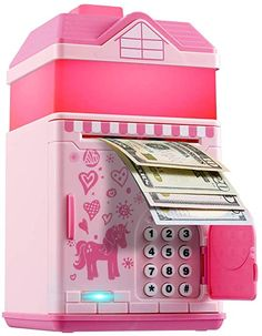 Piggy Bank for Girls, Electronic Money Coin Code Bank with LED Night Light and 10 Music, Pink Safe Box with Personal Password Setting, Auto Money Scroll, For Kids` Birthday Toy Cars For Kids, Cool Toys For Girls, Cute Outfits For Kids, Money Safe Box, Money Saving Box, Money Bank, Hello Kitty Birthday, Unicorn Birthday Parties, Minnie Mouse Toys