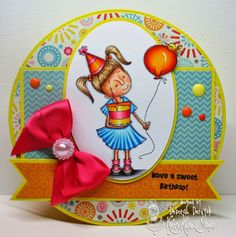 """Card featuring """"sweet birthday kids"""" from Kraftin' Kimmie Stamps. Designed by…"""