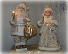Our latest creations Stunning gold brocade / cream / ivory Santa and Mrs Claus Shabby Chic Christmas, Gold Christmas, Vintage Christmas, Xmas, Winter Decorations, Mrs Claus, Winter Wonderland, Disney Princess, Holiday Decor