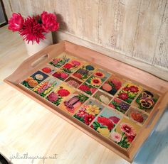 Finished tray with decoupaged French flower seed labels. Girl in the Garage Mod Podge Crafts, Fun Crafts, Diy And Crafts, Diy Projects To Try, Craft Projects, Handmade Christmas Presents, Diy Ideas, Craft Ideas, French Flowers