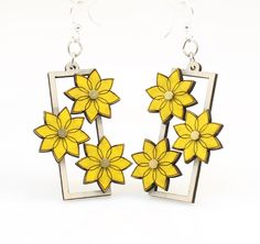 """Made in U.S.A Style # 5010 Size 1.7"""" x 1.2"""" Flower Gear Earrings 5010 Made from sustainably sourced materials Laser-cut wood Stained with water based dye Ear wires are silver-finished 3041 stainless steel with new electrophoretic-coating that resists tarnishing"""