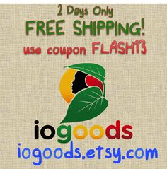 We're celebrating 100 sales in our Etsy shop by offering FREE U.S. Shipping on all orders over $50! 2 Days only, find us today at www.iogoods.etsy.com