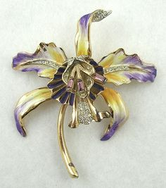 Corocraft Sterling Orchid Brooch - Garden Party Collection Vintage Jewelry