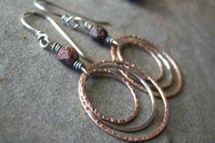 Vendita-Rustico Hoops-Boho-monachella rame-orecchini argento miscelati orecchini metallo-artigiano.