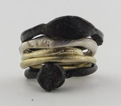 Katherine Bowman Sterling silver and 9ct yellow gold -Very organic in its expression and very cool!