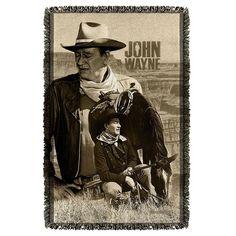 John Wayne/Stoic Cowboy Graphic Woven Throw