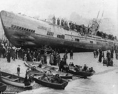 Among the most feared killing machines of World War 1, causing the deaths of thousands of servicemen at sea. So when the people of Hastings woke one morning to see this German U-boat on their beach, it caused something of a shock. These eerie pictures show how the horrors of war got a little bit too close to home for the people of the Sussex town.