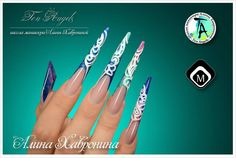 Gel nails with white acrylic pattern by Ten Angels