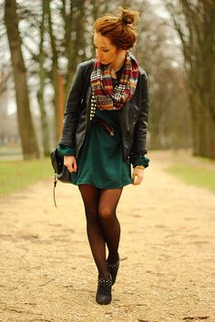 Dress with tights...us mt. Girls need to look cute and keep warm