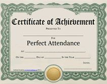 Award certificates certificate templates and foreign for Printable perfect attendance certificate template