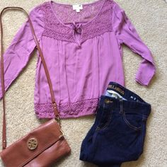 NWOT ✨lace details 3/4 sleeve blouse Lilac NWOT peasant style shirt with lace details and a tie in the front. Bottom is electric sleeves are around 3/4 length with buttons to hold them up. Super cute for spring and summer. No trades thanks! LA Hearts Tops Blouses