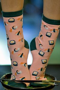 Sushi and socks, two great tastes that go together and are even better with nori-green contrast heel, toe and cuff.