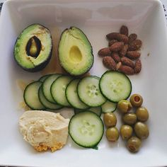 Fat fat fat and more fat. Soy sauce and wasabi in avacado... garlic hummus cucumber chips almonds green olives and pickled ginger. Mmmn.  #relishplate #lowcarbvegetarian #lowcarbvegetarianfood #vegetarian #vegan #lowcarbvegan #vegetarianfood #veganfood #lowcarbhighfat #lchf #keto #ketosis #atkins #atkinsdiet by lowcarbvegetarianrecipes