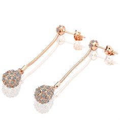18K Drop Down Earrings with Suave Austrian Crystal Made with Austrian Crystal Elements only by: Rubiq, Women's