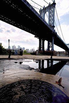 Dumbo view of Manhattan Bridge, Brooklyn, NY.