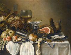 Claesz Pieter (1597 — 1661) Натюрморт с фруктами, ветчиной, устрицами, хлебом и др объектами 1651_78.8 х 103_х.,м. Частное собрание