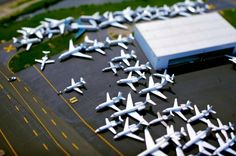 Tilt shift effect makes these planes look like toys. By Vincent Laforet.