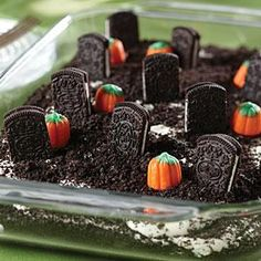 Cemetery cookie dessert. Little cookies stand up to resemble little tombstones on this easy-to-make dessert.