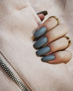 Luxe Matte Grey Nails