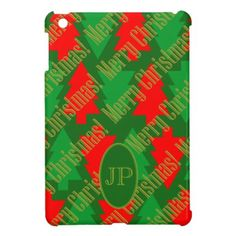 Festive Red Gold Green Christmas Tree Monogram iPad Mini Cases - monogram gifts unique custom diy personalize