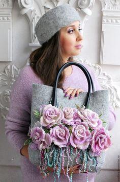 Купить Дизайнерская сумка Цветы нежности - сиреневый, дизайнерская сумка, авторская сумка, сумка
