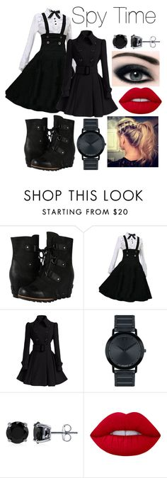"""""""Spy Time"""" by whynterthyme ❤ liked on Polyvore featuring SOREL, Movado, BERRICLE and Lime Crime"""