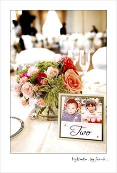 Pictures of the bride and groom with their age in the picture is that table number.