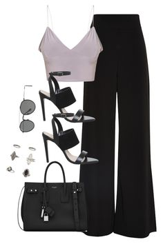 """""""Untitled #3158"""" by theaverageauburn on Polyvore featuring AQ/AQ, Yves Saint Laurent, Miss Selfridge and Ray-Ban"""