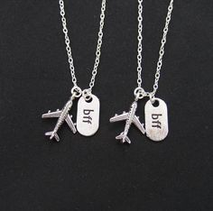 set of two necklaces long distance friendship  jet by vespestudio