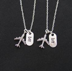 set of two necklaces long distance friendship  jet by vespestudio