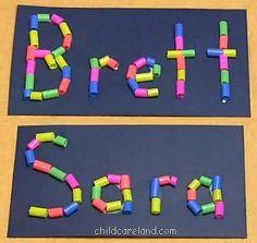 childcareland blog: Straw Name Collage