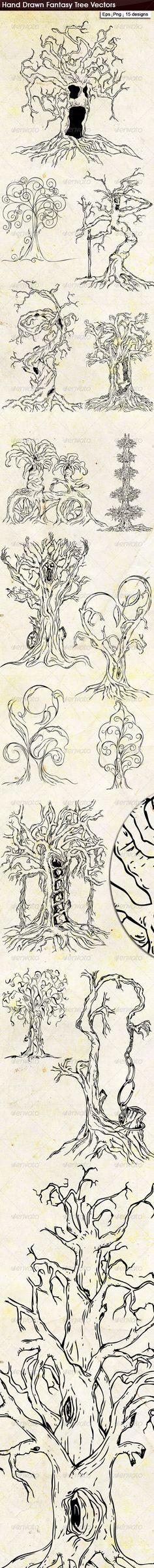 Hand Drawn Fantasy Tree Vector