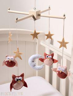 Owl and Moon Felt Mobile, Nursery Mobile, Baby Crib Mobile, Cot Mobile.