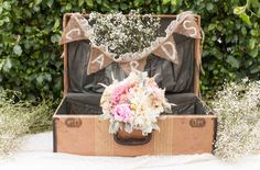 Vintage Cali Barn Wedding from GWS. Love all the elements of baby's breath, lace, and burlap.