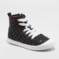 a00f7ace89d7 Girls  Ansley High Top Canvas Sneakers with Glitter - Cat   Jack Black 13
