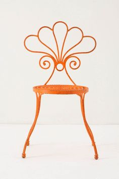 Le Versha wrought iron chair in orange! Eclectic Outdoor Chairs, Art Deco Decor, Orange You Glad, Garden Chairs, Porch Chairs, Take A Seat, Happy Colors, My Favorite Color, Just In Case