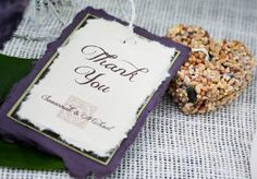 Adorable bird seed favors from @Tami Winn Events and tag by Paper Planet. Photo by Tracy Autem Photography #wedding # favors #bird #seed #heart