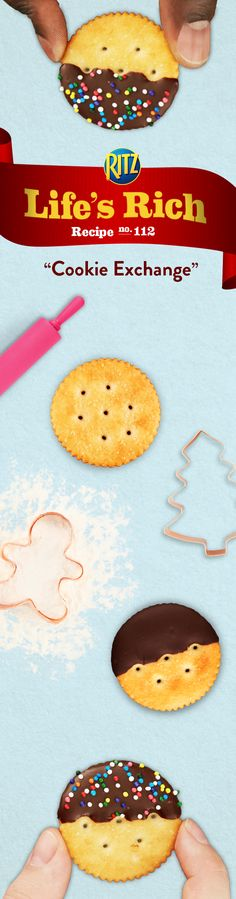 Add a little saltiness to the sweetness of your Cookie Exchange with RITZ Chocolate-Dipped Bites. Follow this simple recipe for a delicious treat: 1. Dip RITZ Crackers one at a time halfway into melted chocolate 2. Sprinkle w/ nonpareils 3. Refrigerate until the chocolate is firm. This perfect snack is sure to satisfy every taste!